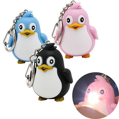 Fab Cute Animal Penguin LED Light With Sound Key Chain Keyring Ring Torch Gift