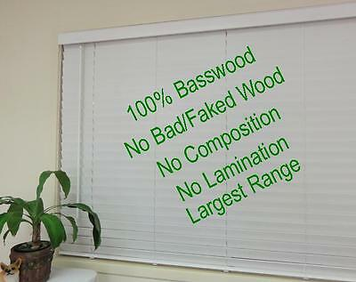 New 50mm basswood timber venetian blind; Colour: white (Largest size range)