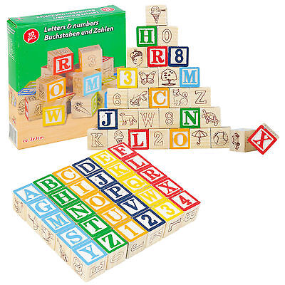 Child's Educational Wooden Blocks Numbers & Letters New