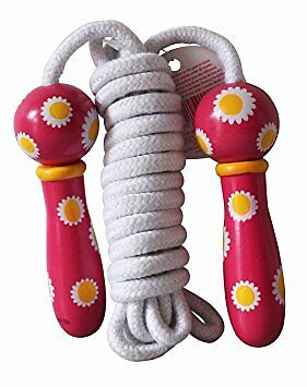 House of Marbles Traditional Wooden Handle Flowers Skipping Rope Girls Childrens