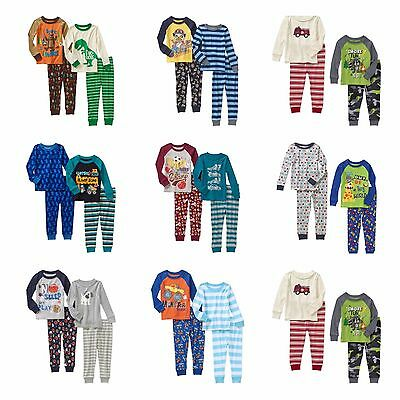 New Boys Toddler Long Sleeve Cotton Pajamas Fitted Nightwear 2-pack 12 M - 5T