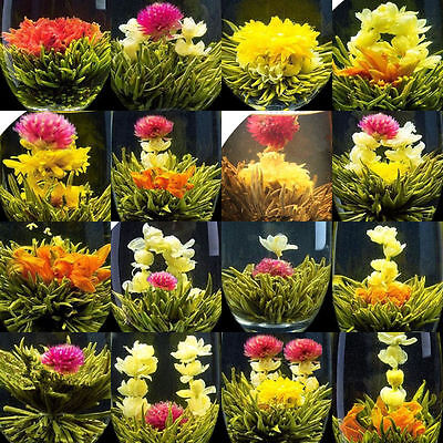 16 Pcs kinds Handmade Blooming Flower Tea Balls,GREEN JASMINE white Stück tee