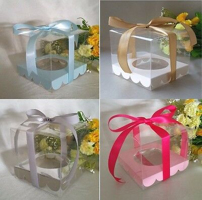 12/25/50/60/100 Clear PVC 9cm Cupcake Favor Box + Base Wedding Party Christening