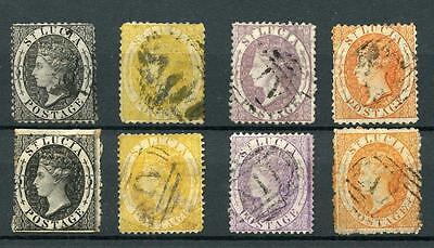 St Lucia 1864-76 all values, both perfs SG11/18 used cat £201 as cheapest