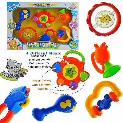 6pcs Baby Activity Toys and Rattles for Girl & Boy 12M+ Lovely Gift Set for Baby