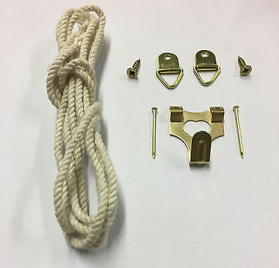 HEAVY DUTY PICTURE MIRROR HANGING KIT D-RING PICTURE Cord  HOOK FOR 20LB OR 10KG