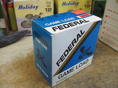 original federal GAME LOAD EMPTY PAPER shotshell box 12 gauge 8 shotgun shell