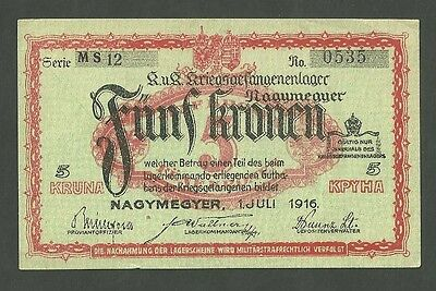1916 Prisoner Of War Emergency Note POW Austria Nagymegyer 5 Kruna Kronen