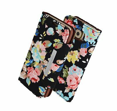 2 in 1 Removable Magnetic Wallet case for Iphone 6/6s in Black Flower  on Denim