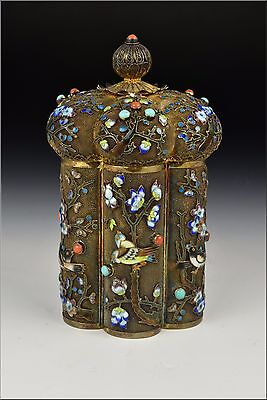 19th / 20th Century Chinese Silver & Enamel Covered Box w/ Turquoise & Coral