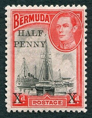 BERMUDA 1940 1/2d on 1d black and red SG122 mint MH FG Hamilton Harbour a #W2