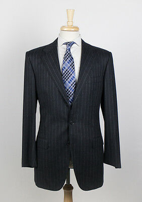 NWT. BELVEST Charcoal Gray Pinstripe Wool 3 Roll 2 Button Suit 50/40 R $2300