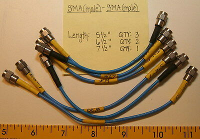 "(6) SMA(Male) to SMA(Male) Cable Assorted Lengths 5.5""-7.5"""