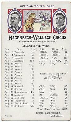 Blotter - Official Route Card, Hagenbeck-Wallace Circus 17th Week - Peru, IN