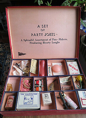 VINTAGE BOX of PARTY JOKES - Franco Products - Dribble Glass - Hand Buzzer