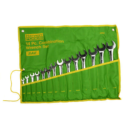 """14PC Piece SAE Standard Combination Wrench Set w Roll-Up Pouch 3/8"""" to 1 1/4"""""""