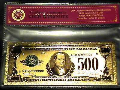 99.9% 24K Gold $500 Bill Us Banknote In Protective Sleeve W Coa
