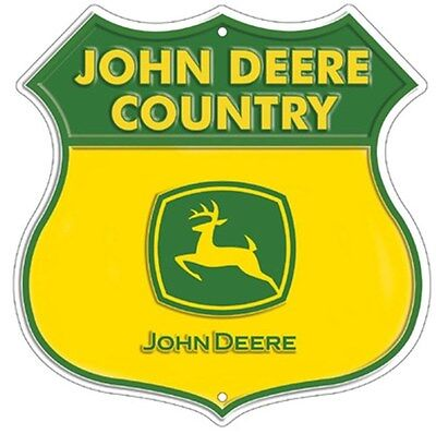 NEW John Deere Country Embossed Sheild Road Sign Tin 11.5 x 11.5       LP67283
