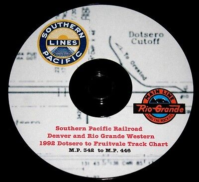 Southern Pacific 1992 (D&RGW) Dotsero to Fruitvale Track Chart Pages on DVD