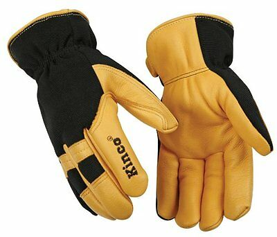 Men's Lined Grain Deerskin Gloves KINCO 101HK Yellow/Black ~ New