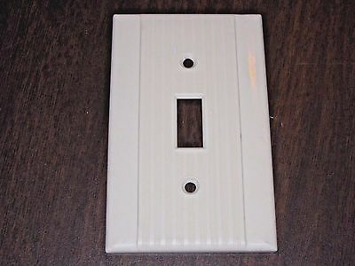 single Vintage WIDE & NARROW RIBBED ivory light switch cover plate smooth sides