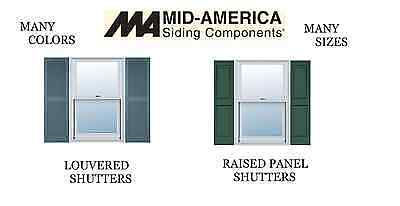 Nos. Mid America Shutters. Raised Panel Or Louvered. 2 Per. Many Sizes & Colors.