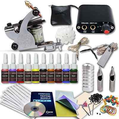 Complete Tattoo Kit Machines Color Inks Power Supply Y-017