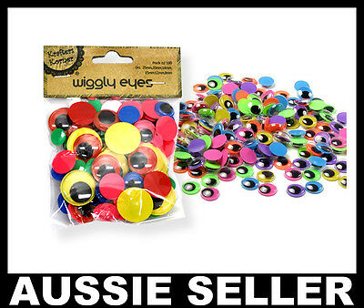 100pcs NEON COLORED Jiggle Moveable Wiggly Google Googly Craft Eyes Scrapbooking