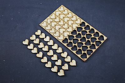 100 X Small Heart Wooden Mdf Wood Shape Craft Embellishment Gift Decoration S207