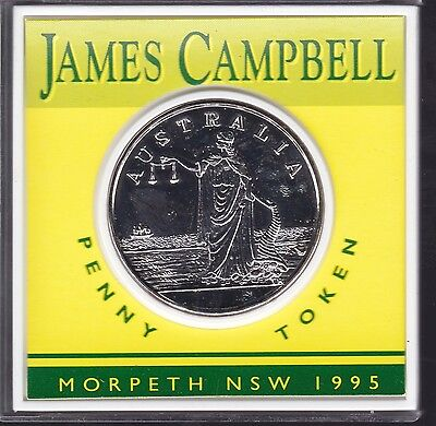 1995 James Campbell penny token Morpeth NSW Australia General Stores I-319
