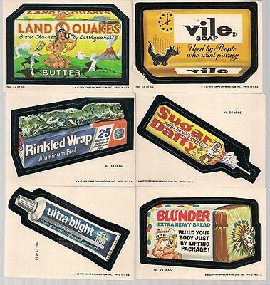"WACKY PACKAGES SERIES 1 VINTAGE 1979 TOPPS 6 CARD LOT ""B"" #'s 12 18 19 33 37 50"
