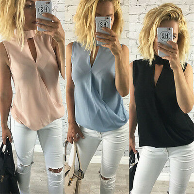 Summer Women Casual Sleeveless Cut Out Vest lady T Shirt Blouse Tops Size 10-18