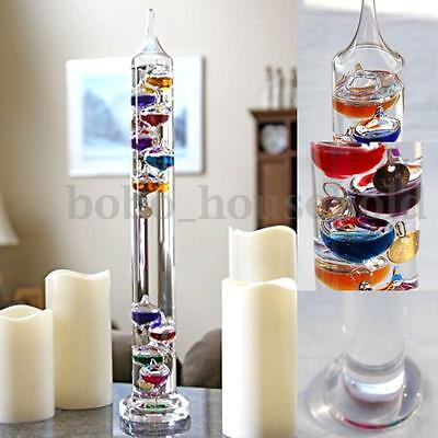 Large Glass Galileo Liquid Thermometer Colorful Globes Temperature Indicator Art