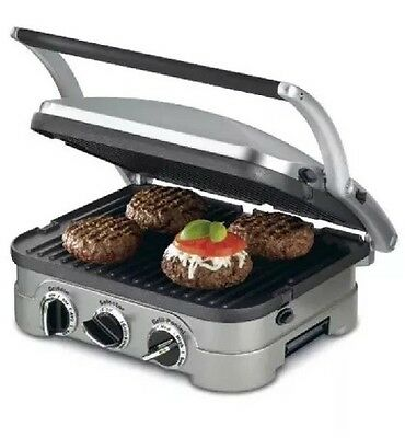 Cuisinart GR-4N GRIDDLER, Compact 5-in-1 Nonstick Plates Drip Tray GRILL