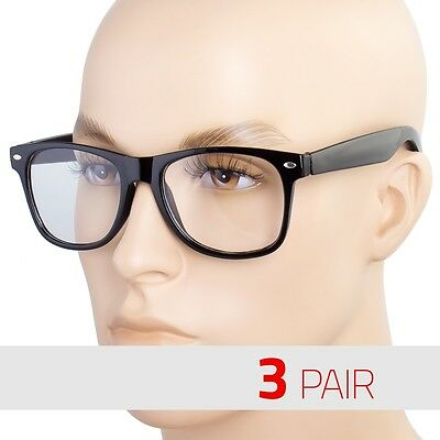 3 PAIR Mens Womens Clear Lens Nerd Retro way Unisex Glasses Fashion Eyewear