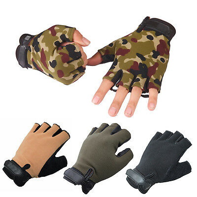 Men's Half Finger Cycling Driving Fingerless Mittens Tactical Athletic Gloves LU