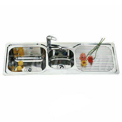 1225*465*170mm-Drop-In-stainless-steel-Kitchen-Sink-double-Bowl-with-drainer