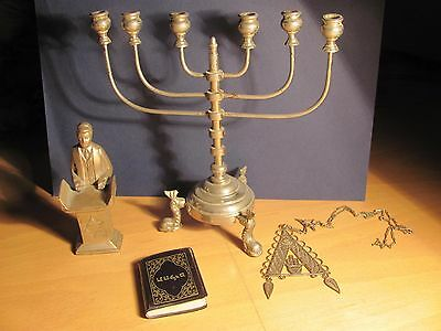 Beautiful Judaica lot: menorah, statuette, medallion, prayer book, plate, glass