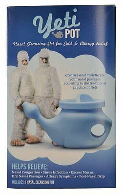 Neti Yeti Pot with Himalayan Salt - Nasal Sinus Cleanser Cold Allergy Flu Relief