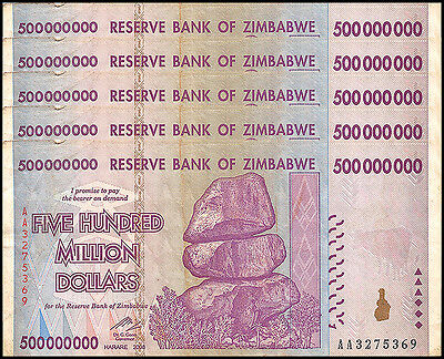 Zimbabwe 500 Million Dollars X 5 Pieces (PCS), AA/AB, 2008, P-82,Circulated,Used