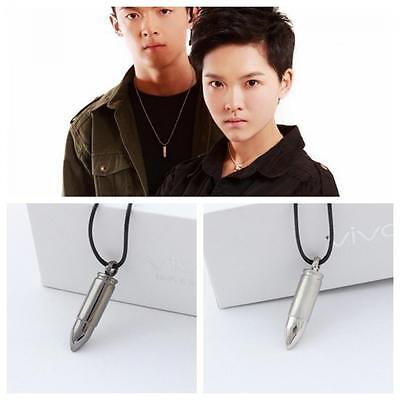 Military Stylish Army Necklace Bullet Pendant Leather Chain Alloy