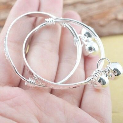 Fashion Jewelry Letters Bracelet Baby Bell Bangle  Silver Plated