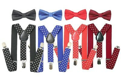Kids Suspenders And Bow Tie- Black, Navy, Red and Blue
