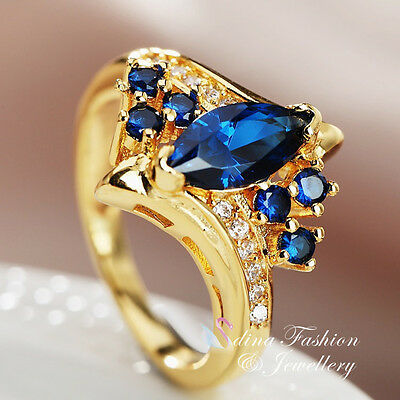18K Yellow Gold Plated Cubic Zirconia Marquise Cut Sapphire Cluster Ring