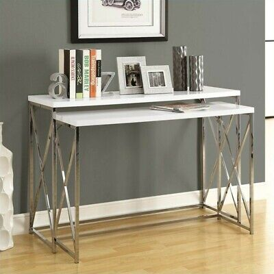 MONARCH 2 Piece Metal Console Table Set Rectangular in Glossy White ...