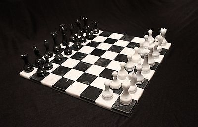 "16"" Chess Set White & Black Marble w/o border Hand Made in Velvet Suede Gift Box"