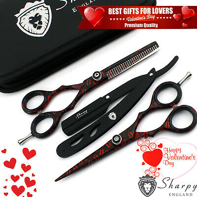 Professional Salon Black Hairdressing Hair Cutting Thinning Barber Scissors Set