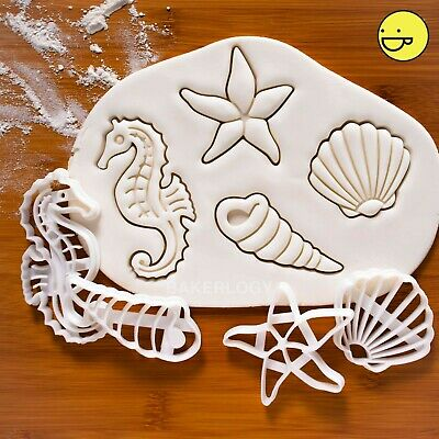 Set of 4: Seashell Seahorse Corkscrew Starfish cookie cutters | nautical cutter