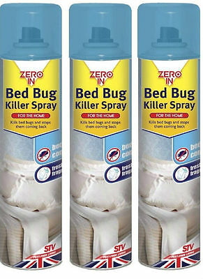3x ZERO IN INSECT BED BUG BEDBUGS SPRAY TREATMENT KILLER CONTROL KILL