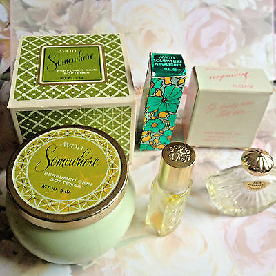 Vintage Avon Somewhere 2 Colognes, Skin Softener Collectible Jars, Empty & Boxes
